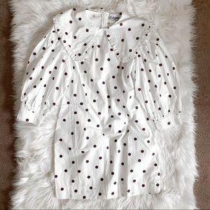 Ganni polkadot puff sleeves mini dress